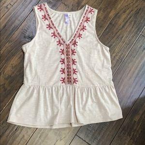 ALYA sleeveless peplum embroidered top
